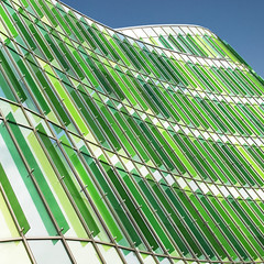 The rub of the green (Arni J.M.) Tags: architecture building therubofthegreen glass glassvasebuilding glasvasen kanozi sky blades up wall diagonal green blue curve lines metal malmo malmö södranyhamnen scania sweden
