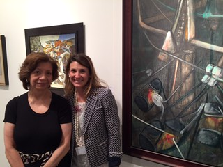 Gallery owner Mary-Anne Martin and associate Caroline Bettelheim at the Mary-Anne Martin fine art booth at art Basel