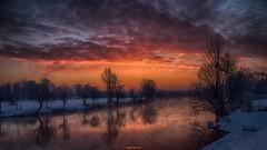 River Korana in daybreak (malioli) Tags: city sky reflection tree nature clouds sunrise canon river landscape town europe place croatia down hdr daybreak hrvatska karlovac korana