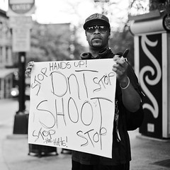 Eric (local paparazzi (isthmusportrait.com)) Tags: light summer portrait blackandwhite bw white man black detail male blancoynegro sunglasses sign contrast dark square person eos 50mm iso800 pod raw f14 protest clarity voice stranger shades human crop portraiture cropped sharpie usm madisonwi written fullframe judgement statestreet handsup ef ferguson speak edges corners cropping 2014 dontshoot michaelbrown sharpness judgementday f20 canonraw cr2 isthmus stophate silentprotest 50mmf14usm 100strangers danecountywisconsin photoshopelements7 fergusonmissouri canon5dmarkii pse7 localpaparazzi redskyrocketman lopaps isthmusportrait 608strangers