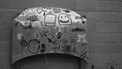 Car Hood (Visual Declaration) Tags: blackandwhite bw streetart art sign photography michigan sony dslr ferndale carhood sonya330