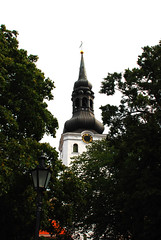 St Marys Tallinn (Eoghan Mac) Tags: old tree green church lamp leaves st town tallinn estonia post spire holy marys