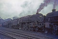 70042 + 70040 + 45212 Carlisle Kingmoor shed 24 Sept.1966   South Yorkshireman No.6 railtour [photo 4 of 7] (Brit 70013 fan) Tags: br britishrailways british railways britannia 70042 lordroberts cliveofindia steam steamengine carlisle kingmoor 12a black5 45212 southyorkshireman railtour railway 70040