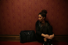 Sammy. (Stefano-Bosso) Tags: girls red people black berlin love girl fashion pose germany bag marquee hotel floor models posing hallway sammy total modelling moroccan totalblack circushotel