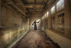 The friend (Sshhhh...) Tags: school light abandoned pose daylight mask robe decay debris dirty cloak mime derelict sshhh jackdaws sshhhh