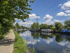 Houseboats and Reflections (SarahO44) Tags: uk house reflection london clouds canon river boats united houseboat kingdom valley lee lea g12