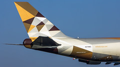 "The lovely new tail design of Etihad • <a style=""font-size:0.8em;"" href=""http://www.flickr.com/photos/125767964@N08/16644068212/"" target=""_blank"">View on Flickr</a>"