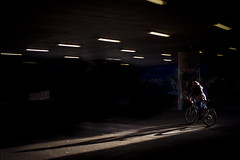 Biker (donlunzo16) Tags: city light shadow color film 35mm underpass lens town nikon df raw nef stuttgart tunnel pack filter nd biker manual nikkor vignette ai lightroom f12 3x preset vsco