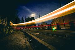 again (Ivan Peki - www.ivanpekic.com) Tags: rails rail railroad speed light long wide night ground dark road city downtown