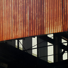 soma construction (msdonnalee) Tags: beams metal abstractreality corrugatedmetal shadow ombre ombra sombra rust