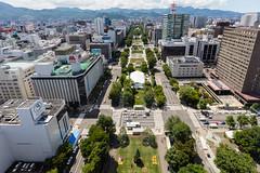 Odori Park (Role Bigler) Tags: canoneos5dsr highpov hokkaido japan nippon odori odoripark sapporo tvtower building canonef1635isus city mountains stadt