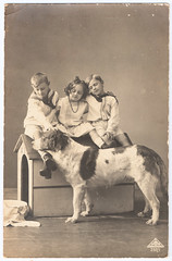 Three Children With Dog (pepandtim) Tags: postcard old early nostalgia nostalgic 88tcd54 three children dog marcuse day london england uk great britain prussia peckham 15081913 1913 stanbrook lower cliff road gorleston suffolk cicely eileen carriage sweets castle winnie