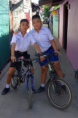 school boys on bikes (the foreign photographer - ) Tags: dscaug212016sony two school boys bicycles bikes uniforms khlong bang bua portraits bangkhen bangkok thailand sony rx100