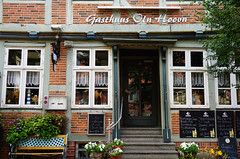 """Guesthouse """"Old Harbour"""". (The name over the door is written in low German- language). (detlefgabriel17) Tags: restaurant guesthouse fachwerk halftimbered truss architektur germany lowersaxony stade altesland"""
