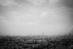 Bangkok from the West (manidad1) Tags: bangkok thailand city sky blackandwhite clouds fuji fujifilm x100s contrast river bridge