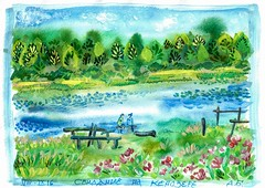 A date on the Kenozero lake. Arkhangelsk region, Russia. VIII-IX 16. (Andrey Borodulin) Tags: watercolor aquarelle painting graphic sketch gouache    date arkhangelsk russia countryside       ink