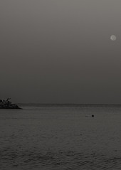 Moon At Dawn II (Emi.R.) Tags: ajman bw beach blackandwhite early fisherman fishing gulf landscape moon ocean sea sky summer travel uae