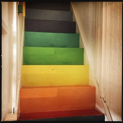 Rainbow Stairs (breakbeat) Tags: hipstamatic oxford instameet instagrammeetup photowalk city hipstamaticapp anniesloan shop cowleyroad painteverything colourful interiordesign rainbow stairs pride