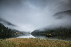 Misty morning (Limned Light Photography) Tags: mountains lake fog rain hiking landscape water cold foggy alps forest clouds damp