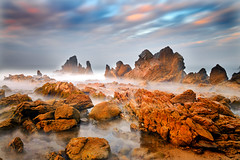Jagged Coast (David Shield Photography) Tags: littlecoronabeach coronadelmar southerncalifornia ocean coast seascape landscape sunrise longexposure clouds jaggedrocks sky color light nikon explore explored
