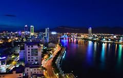 Panoramic Da Nang (free3yourmind) Tags: panoramic view danang vietnam city lights blue hour mountains river asia