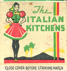 The Italian Kitchens (jericl cat) Tags: matches matchbook match illustration vintage losangeles paper ephemera restaurant dining cocktail the italian kitchens downtown 8th eighth hollywood pantages