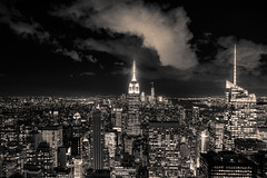 Top of the rock (phot-o-costier) Tags: topoftherock rockefellertower newyork nyc nightphotography bynight manhattan buildings skyscrapers lights lightson sky clouds blackandwhite cityscape rooftop urbanphotography urban city monochrome viewpoint pointofview