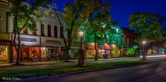 wellsboro, PA lit by gas lights (melike erkan) Tags: dawn morning bluehour predawn night longexposure trees town buildings quaint historic gaslights street streetlights wellsboro wellsboropa pa roadtrip tiogacounty
