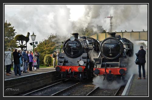 22.10.16 Mid Hants Steam Gala..Class 4mt 76017..Class 5mt 45379 Black 5