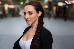 Stranger #33:  Elle (Explore) (Lok n load) Tags: city light sunset girl hair 50mm eyes nikon natural streetportrait style perth wa f18 gaze plaits goldenhour d600 100strangers