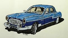 Renault Frégate Grand Pavois (Jean-Paul Rivière) Tags: car vintage sketch renault croquis pittartistpen