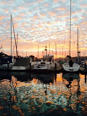 marina sunset (journeyman62) Tags: ocean california ca sunset sky usa reflection water clouds america marina boats harbor formation brandy yachts southerncalifornia orangecounty danapoint masts iphone