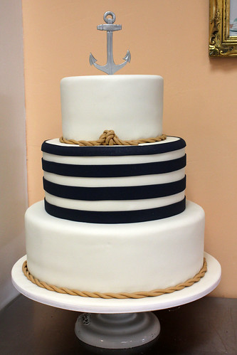 Nautical Anchor and Tie The Knot Wedding Cake
