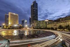Bundaran Hotel Indonesia (franciscus nanang triana) Tags: city blue light building indonesia hotel long exposure foto jakarta hour monumen selamat triana nanang franciscus datang bundaranhi
