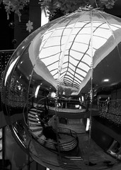 christmas reflection (flytland) Tags: street city roof blackandwhite bw architecture stairs mirror galerie structure nb reflet staircase fujifilm noël miroir rue toit escalier poitiers photoderue xm1
