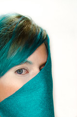 Patterns: 1 in a series. (jenvankaam) Tags: blue portrait abstract color green self hair jen pattern teal felt van kaam