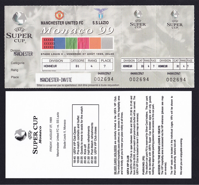UEFA Super Cup Manchester United v Lazio played in Monaco 1999