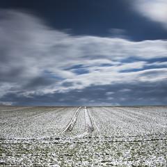Sortie de route (photofabulation) Tags: road sky snow clouds switzerland europa europe suisse path champs traces route ciel fields neige nuages chemin vaud romandie