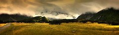 WideScape NZ 814 - P1270814-6+ (cleansurf2) Tags: road sunset newzealand wallpaper panorama mountains color colour beauty field clouds landscape alone view screensaver background pano country wide vivid scene hires baren zealand download backdrop hd eco hdr highdef 8k