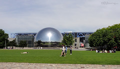 Over the grass to the Geode (eutouring) Tags: travel cinema paris france grass architecture mirror sphere geode citedessciences thegeode geodecinema