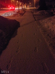 Pair Of Prints (24/03/2014) (Matthew Trevithick Photography) Tags: winter snow ontario canada london night march matthew footprints sidewalk redlights iphone 2014 trevithick piccadillystreet maitlandstreet matthewtrevithick mtphotography