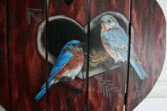 """Bluebirds red barn heart painting by sherrylpaintz (sherrylpaintz) Tags: original red usa holiday love nature floral barn woodland painting design colorful artist heart natural folk ooak decorative wildlife country victorian birdhouse style valentine american romantic chic custom majestic acrylicpainting bluebirds whimsical treasures patina realism primitive décor realistic cherish """"red art"""" """"bird artist"""" """"american wood"""" style"""" """"hand """"weathered painting"""" """"wall """"wildlife """"folk malebluebird """"primitive femalebluebird painted"""" chic"""" """"shabby """"decorative barn"""" """"bluebird sherrylpaintz """"decorating """"distressed"""