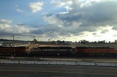 BNSF 9700 Executive Paint Scheme (hupspring) Tags: railroad clouds train diesel engine locomotive southerncalifornia orangecounty anaheim placentia executive bnsf burlingtonnorthernsantafe es44dc sd70mac executivepaint heritageiii bnsfsanbernardinosub bnsf7529 bnsf9700 executivescheme