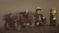 Wandering (Kyle Hardisty) Tags: max kyle post lego ak vehicle dirtbike mad custom survivor apocalyptic wasteland apoc brickarms hardisty 74u minifigcat