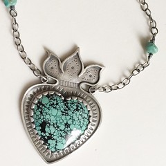 Turquoise Milagros heart, Flaming Heart