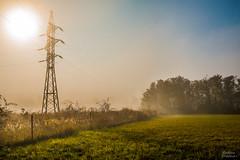 Misty morning (Martina Klvaov) Tags: morning autumn trees sky mist nature fog sunrise landscape czech outdoor brno electricity