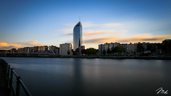 Sunset in Liège (MHPhotography91) Tags: sunset tower port canon stars french landscape golden boat long exposure day cityscape angle belgium fireworks outdoor wide july national hour 14th bastille 1740mm finance liège desaturate 2016 canon6d mhphotography