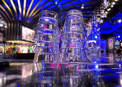 Towers of Glass (Mondmann) Tags: bar restaurant glasses stacks glass reflections reflection colors hardrockcafe busan pusan korea southkorea rok republicofkorea aia eastasia mondmann canonpowershotg7x