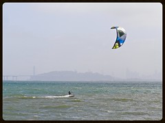 Windy by the Bay (Melinda Stuart) Tags: water sfbay bay sf yerbabuena island bridge windsurfer seascape albany waterfront eastshorepark ebrpd baybridge easternspan mclaughlin