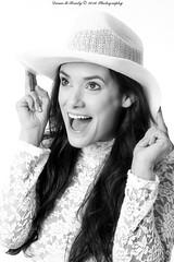 Happy Days (Dana Brady) Tags: blackwhite bw blackandwhite portrait beauty brunette cowboyhat lacetop